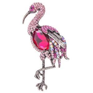 🆕 Pink Flamingo Crystal Brooch